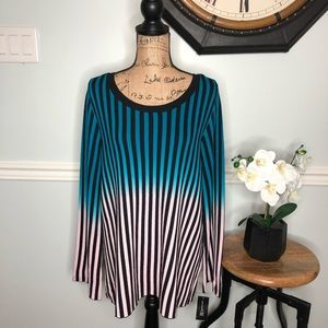 INC Ombré Striped Women's Pullover Top Size 1X